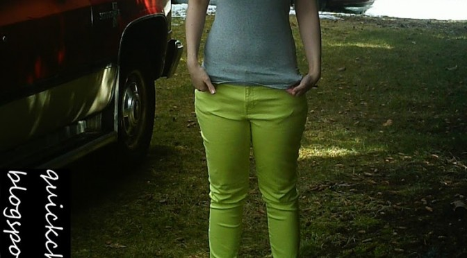 Three ways to wear lime green skinny jeans