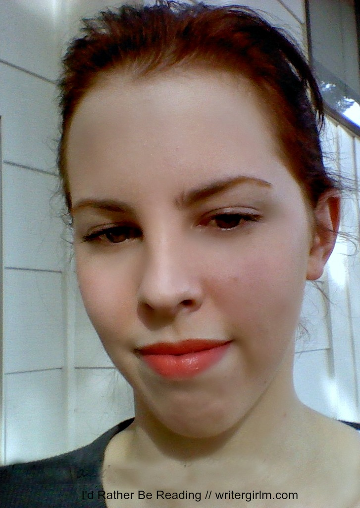 A closeup lip swatch of Coral Floret