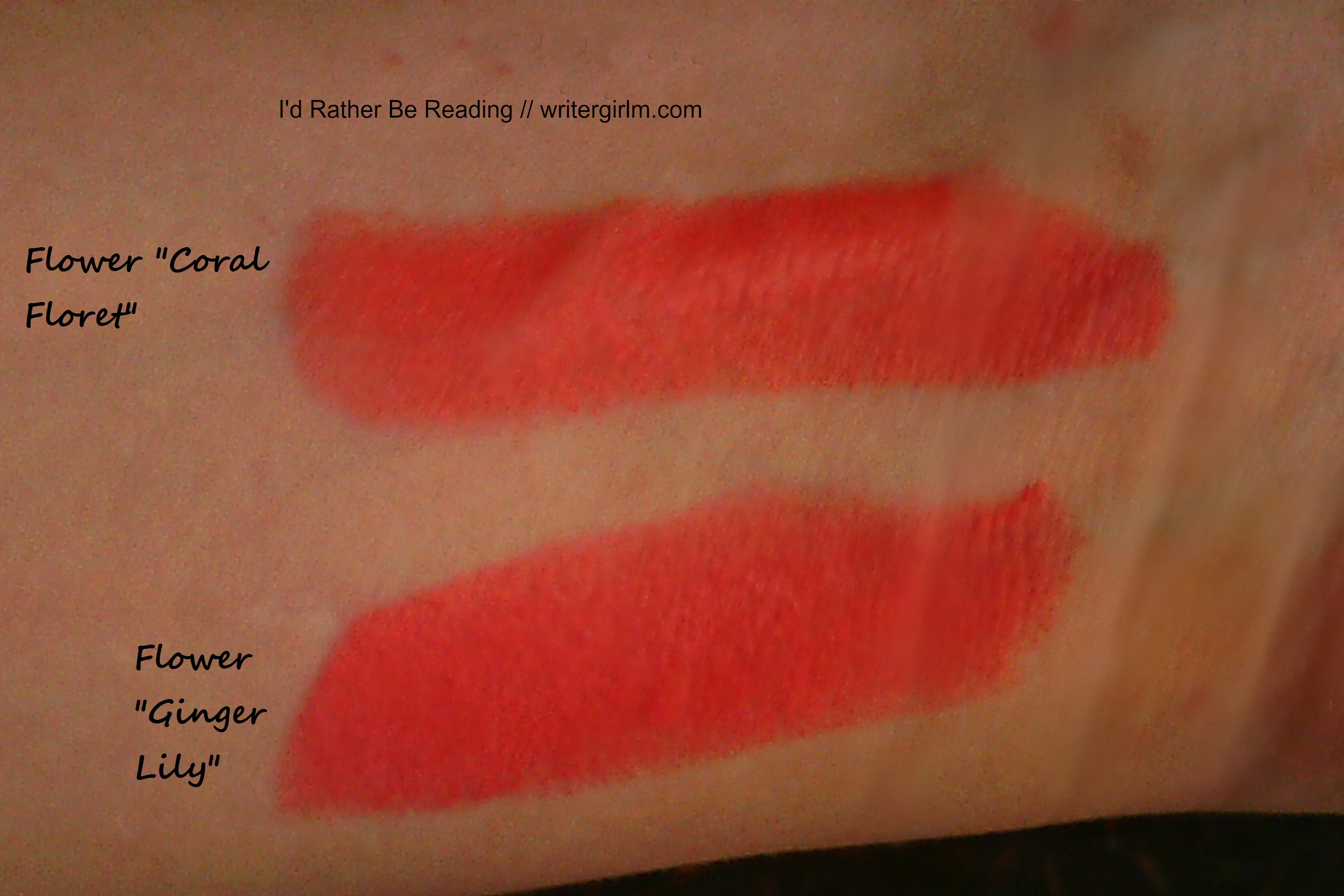 Swatches of Flower Kiss Stick Coral Floret and Ginger Lily