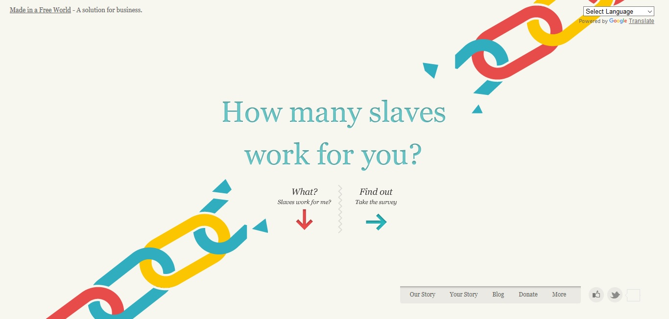 My Slavery Footprint lets you calculate the amount of slave labor that goes into your daily life.