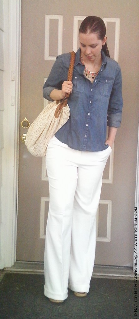 What I wore: denim shirt and white trousers