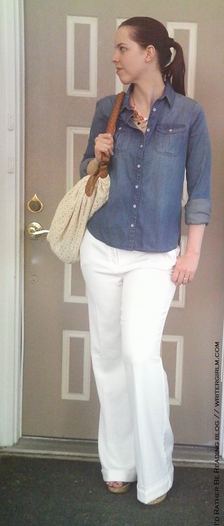 What I wore: denim shirt, white trousers and statement necklace