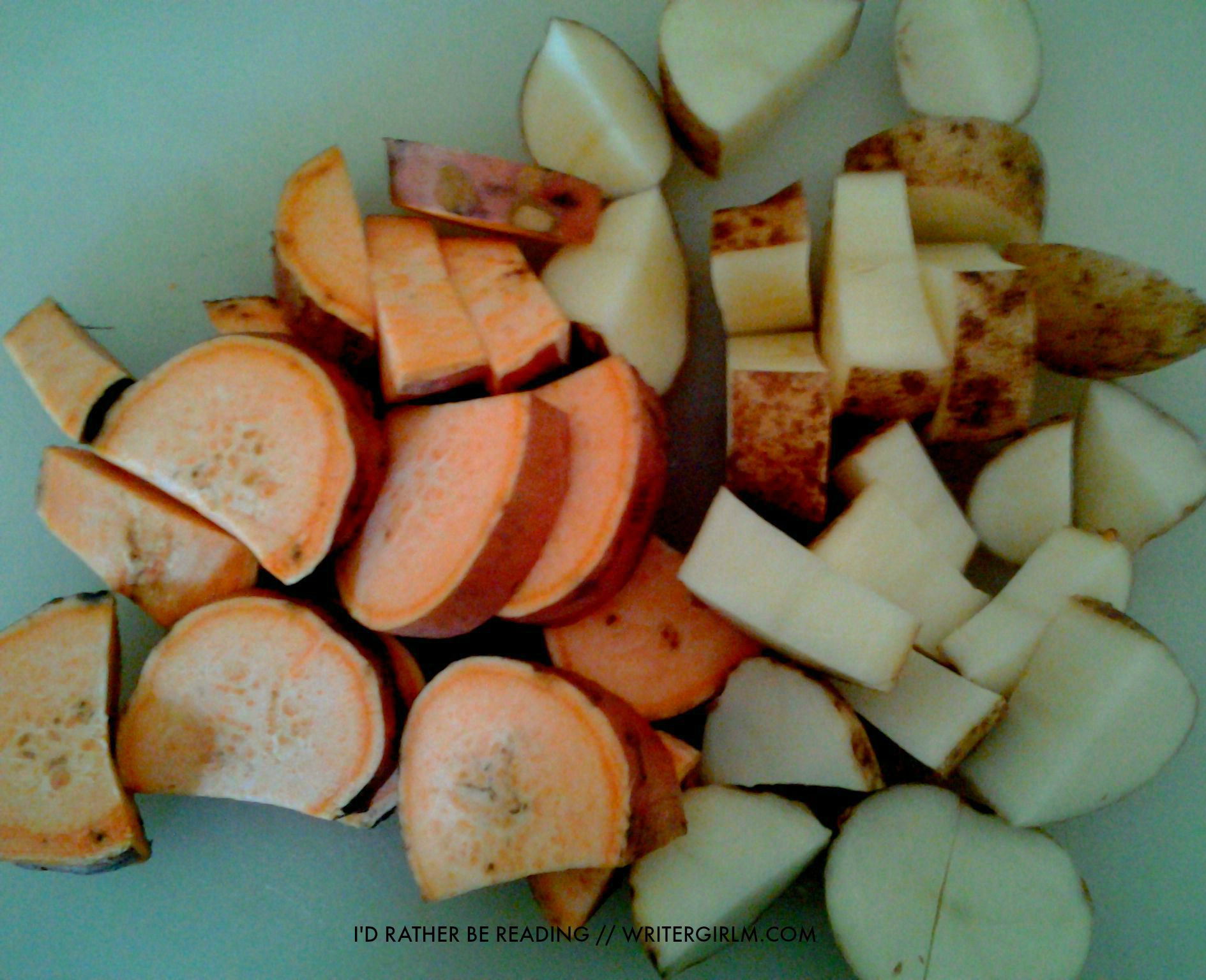 Oven-roasted potatoes, carrots and onions in an Italian dressing