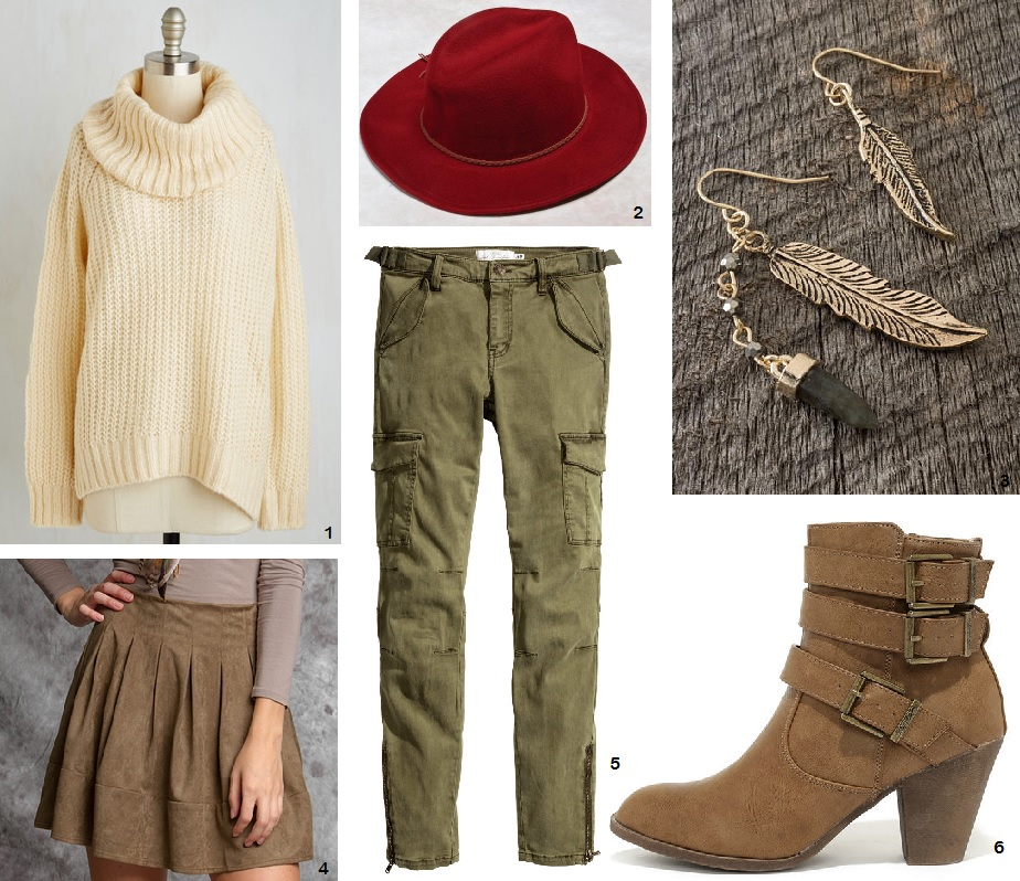 Cozy autumn clothes in shades of taupe, olive, berry, and cream