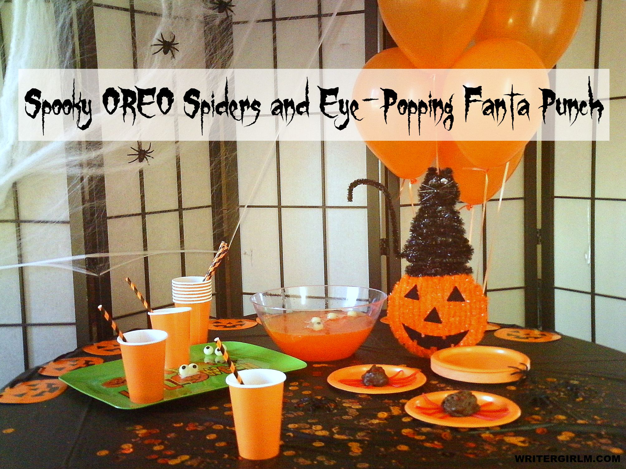 Spook up your Halloween bash with these Spooky OREO Spiders and Eye-Popping Fanta Punch! #SpookySnacks #CollectiveBias
