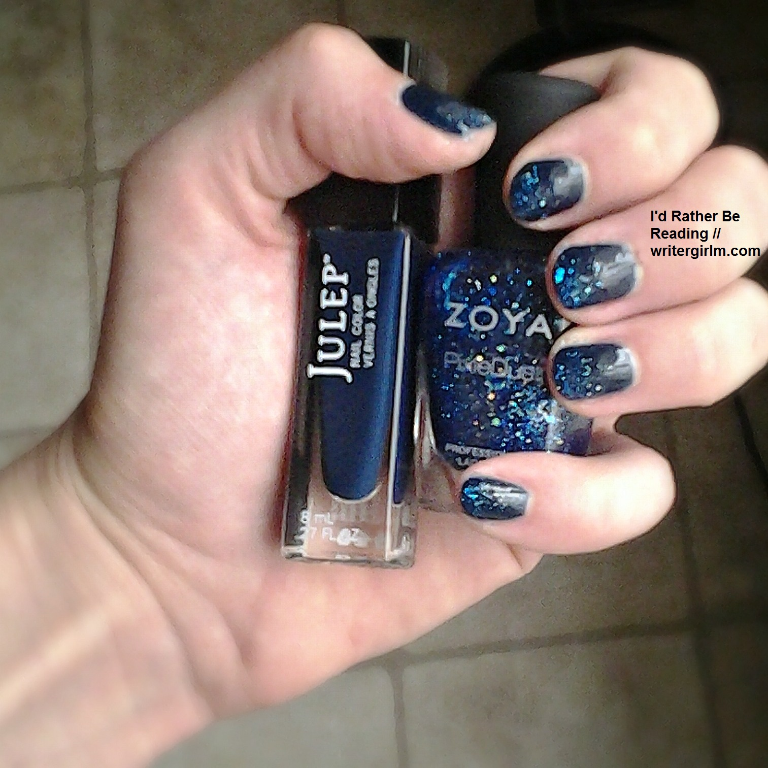 Night sky mani with Julep and Zoya nail polish