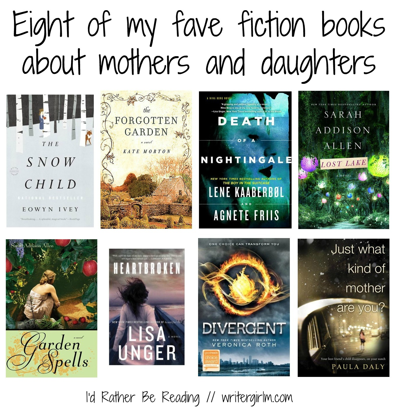 These are eight of my fave fiction books about mothers and daughters--perfect for a Mother's Day gift!