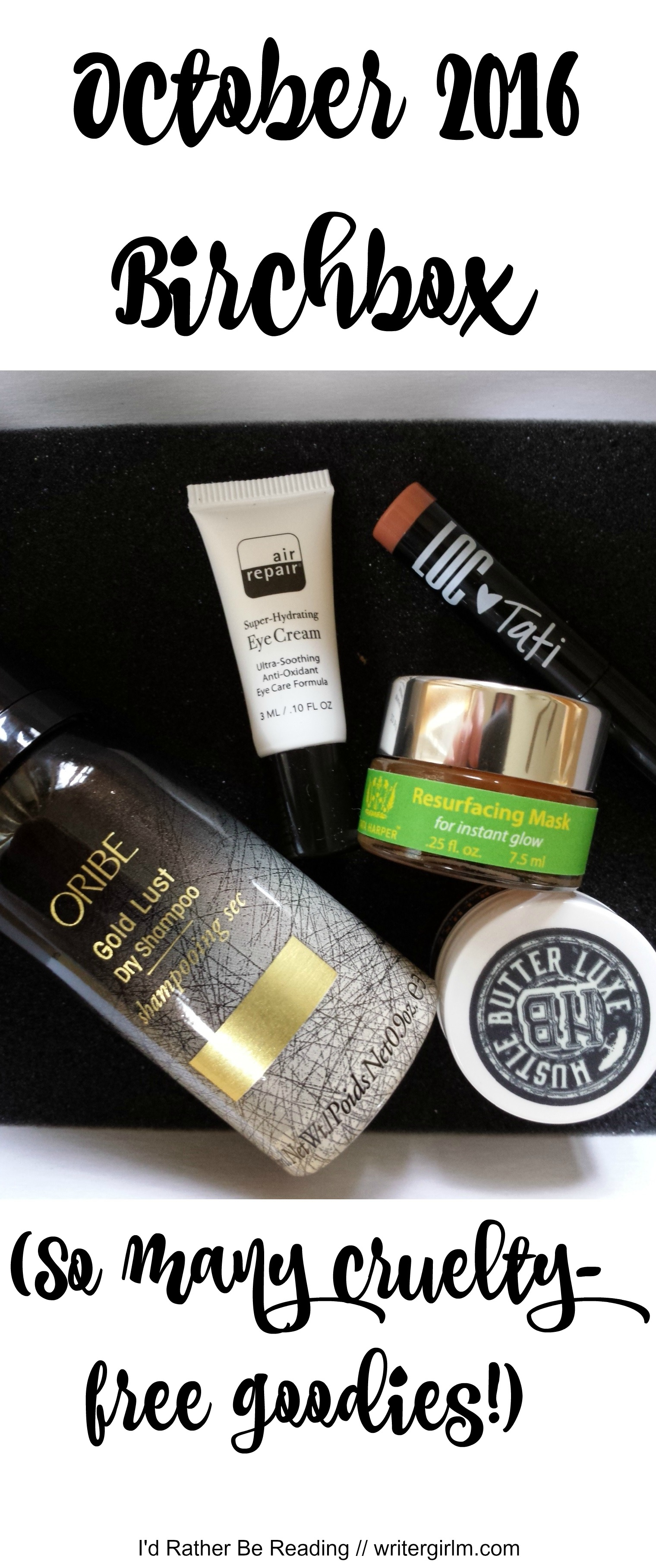October 2016 Birchbox: so many cruelty-free goodies, from brands like Tata Harper, Oribe and Hustle Butter!