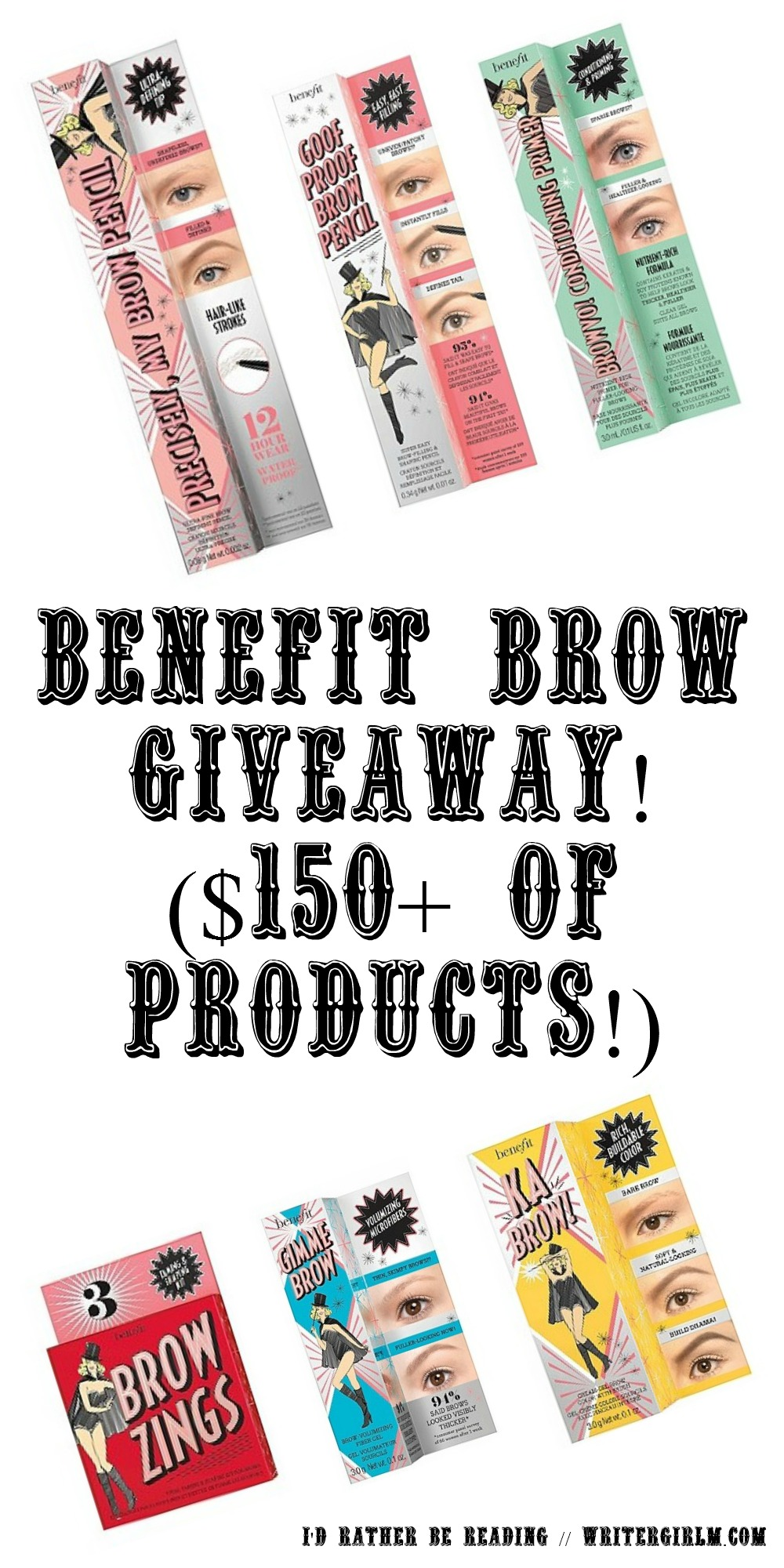 Giveaway time! One lucky reader will win $150+ of Benefit brow products from their new brow collection.