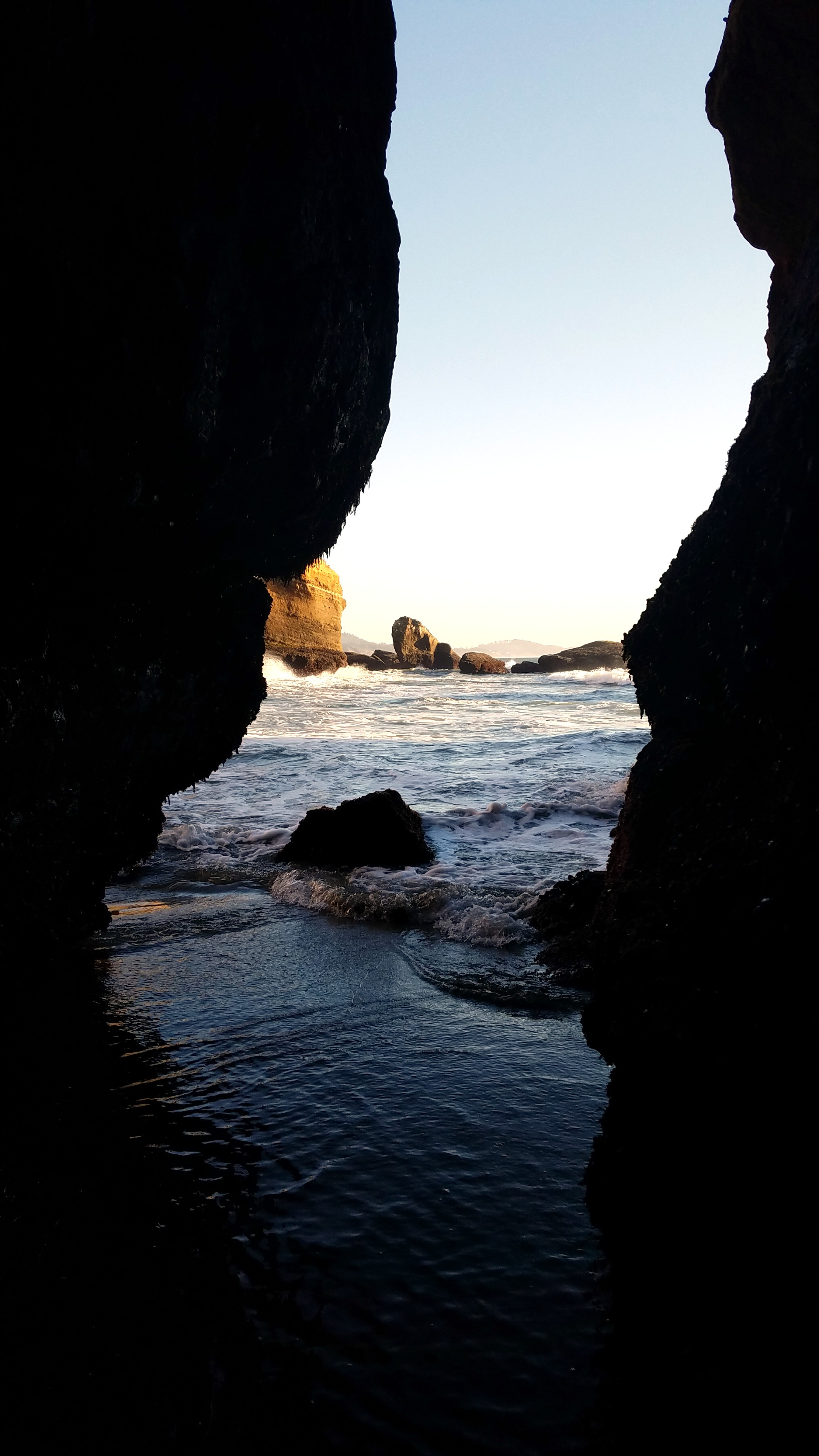 Cave to the sea inside the Devils Punchbowl