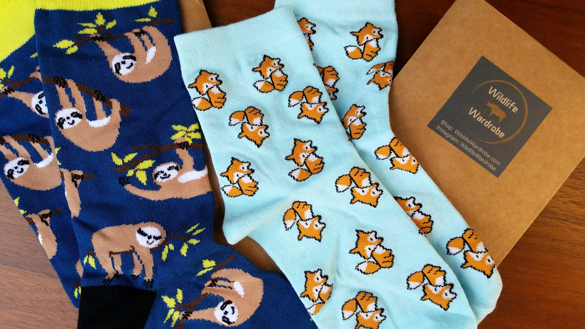 Sleepy Sloth and Fantastic Fox socks from Wildlife Wardrobe