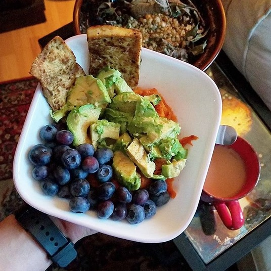 Plant-based sweet potato avocado bowl